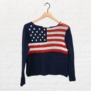 VTG Norton Studio Open Knit American Flag Sweater